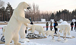 Stuffed polar bears displayed at Int'l Snow Sculpture Expo