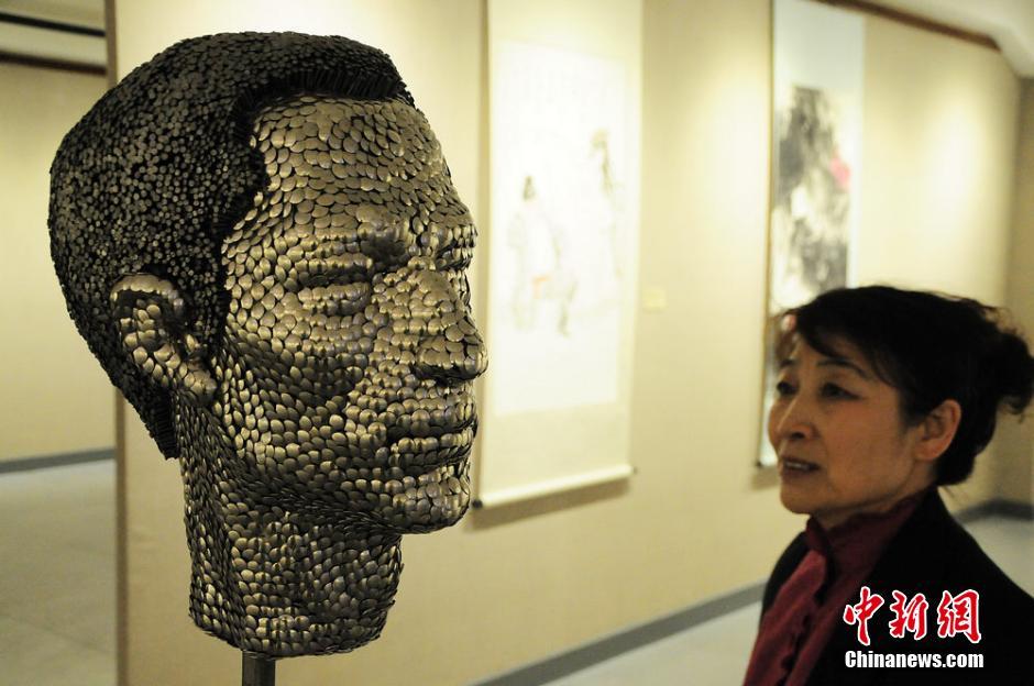 Art in metal: Iron nail-pieced sculpture revealed in Urumqi ...